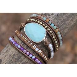 Wickelarmband Amazonit für Harmonie Boho Freundschaft Armband