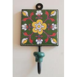 Wandhaken Küchenhaken mit handbemalter Kachel - HAKEN029