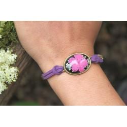 Blumenarmband Armband mit getrockneter Blume in Harz Lila