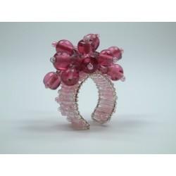Ring mit Glasperlen rosa / rot