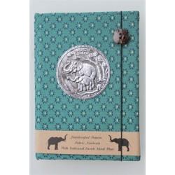 Tagebuch Notizbuch Stoff Thailand mit Elefant 15x11 cm