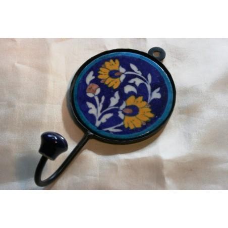 Wandhaken RUND mit handbemalter Kachel