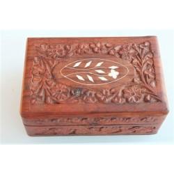 Holzdose geschnitzt Intarsien Holzbox - DOSE204
