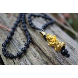 Halskette Feng Shui schwarz Pixiu Pi Yao Mantra Perle 6 mm Glücksbringer