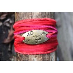 Seidenarmband Wickelarmband Seidenband Rot