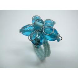 Ring mit Glasperlen blau / türkis