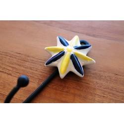 Wandhaken Sternform Gelb /Blau