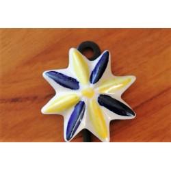 Wandhaken Stern  in Gelb/Blau