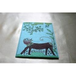 Handbemalte Karte mit Madhubani / Raubtier in Blau