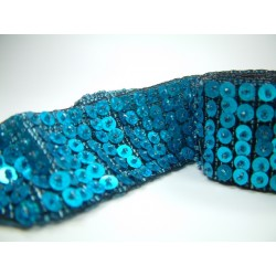 Gürtel mit Perlen / Farbe blau