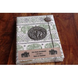 Diary fabric Thailand with elephant 19x14 cm - unlined - THAI020