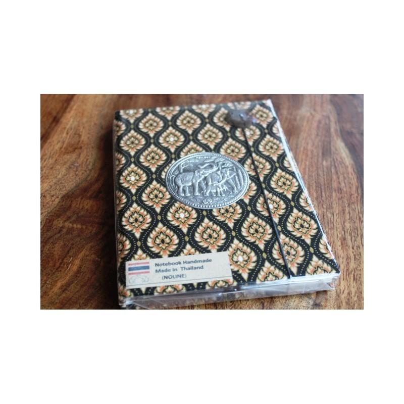Tagebuch Stoff Thailand mit Elefant 19x14 cm - unliniert - THAI023