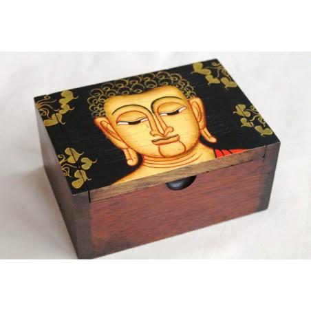 Holzdose Buddha 13x9 cm - schwarzer Hintergrund
