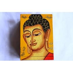 Holzdose Buddha 13x9 cm - gelber Hintergrund