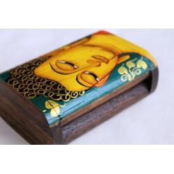 Holzdose Buddha 12x8 cm - grüner Hintergrund