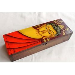 Holzdose Buddha 29x10 cm - brauner Hintergrund