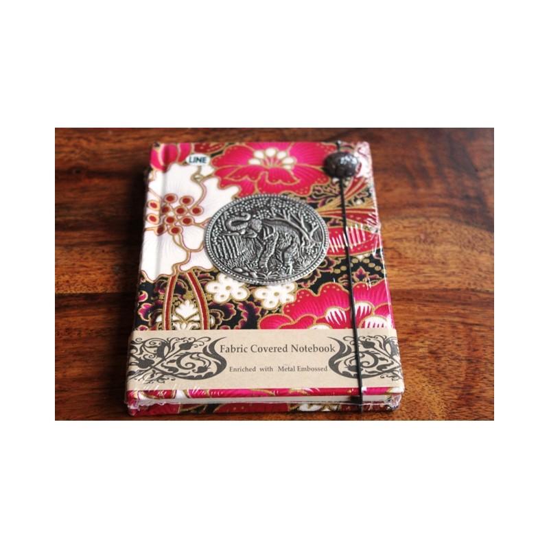 Tagebuch Stoff Thailand mit Elefant 15x11 cm - liniert - THAI033