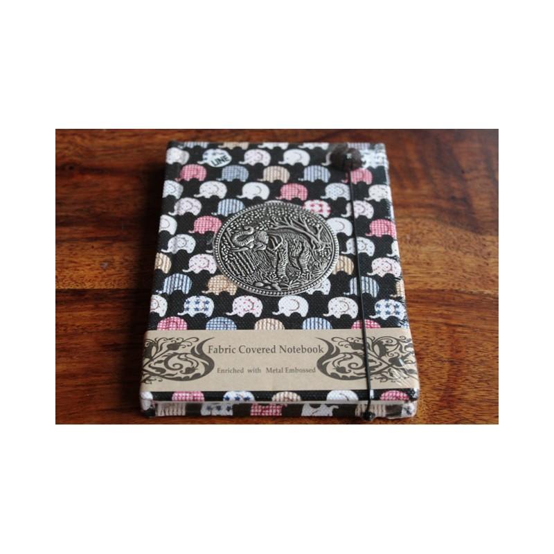 Tagebuch Stoff Thailand mit Elefant 15x11 cm - liniert - THAI034