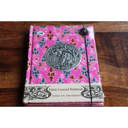 Tagebuch Stoff Thailand mit Elefant 15x11 cm - liniert - THAI035