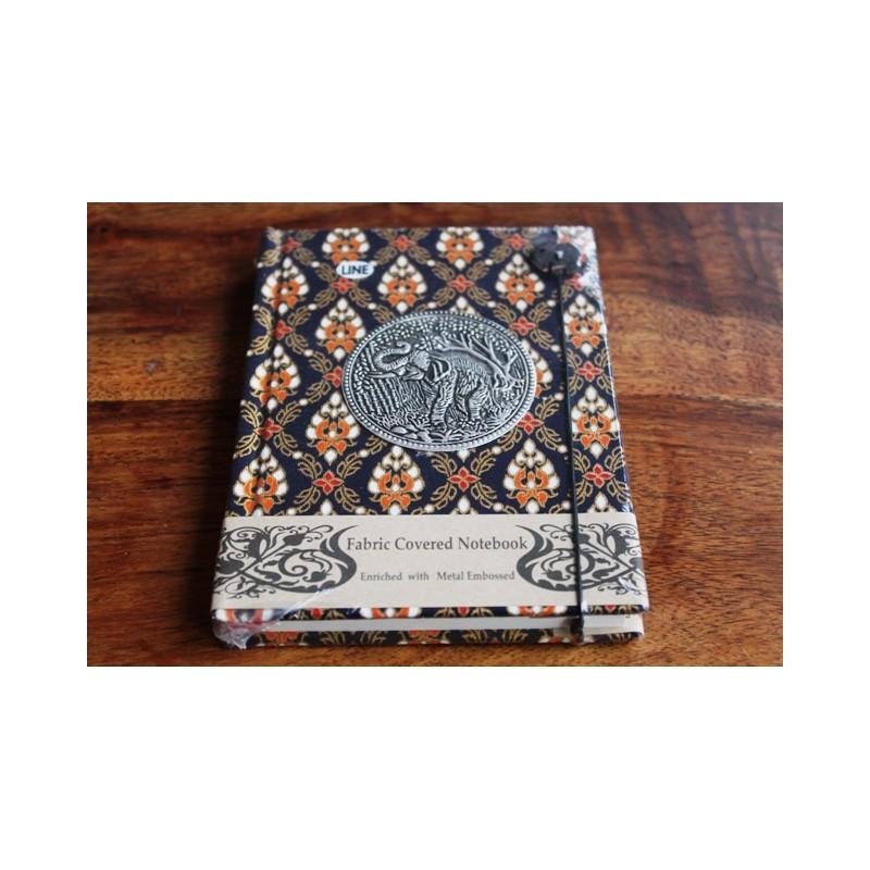 Tagebuch Stoff Thailand mit Elefant 15x11 cm - liniert - THAI036