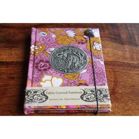 Tagebuch Stoff Thailand mit Elefant 15x11 cm - liniert - THAI037