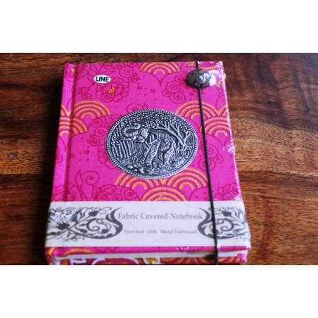 Tagebuch Stoff Thailand mit Elefant 15x11 cm - liniert - THAI038