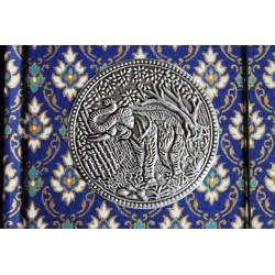 Tagebuch Stoff Thailand mit Elefant 15x11 cm - liniert - THAI039