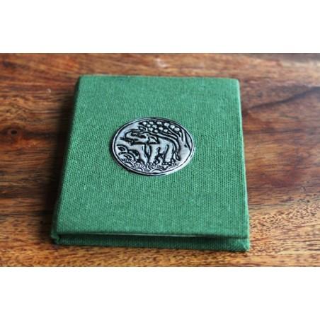Winziges Notizbuch Stoff Thailand mit Elefant 10x8 cm- Grün