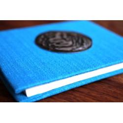 Winziges Notizbuch Stoff Thailand mit Elefant 10x8 cm- Hellblau