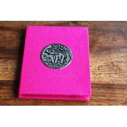 Winziges Notizbuch Stoff Thailand mit Elefant 10x8 cm- Rosa