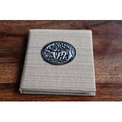 Winziges Notizbuch Stoff Thailand mit Elefant 10x8 cm- Beige