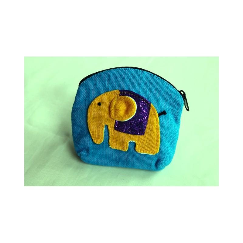 Geldbörse Täschchen Kinderportmonee aus Stoff und Elefantenapplikation
