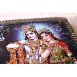 Typisches indisches Notizbuch mit Gottheit Krishna und Radha (mittel) - NOTIZ-OM052