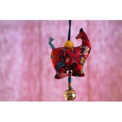 Anhänger Stoffelefant Glöckchen Rot blaues Band
