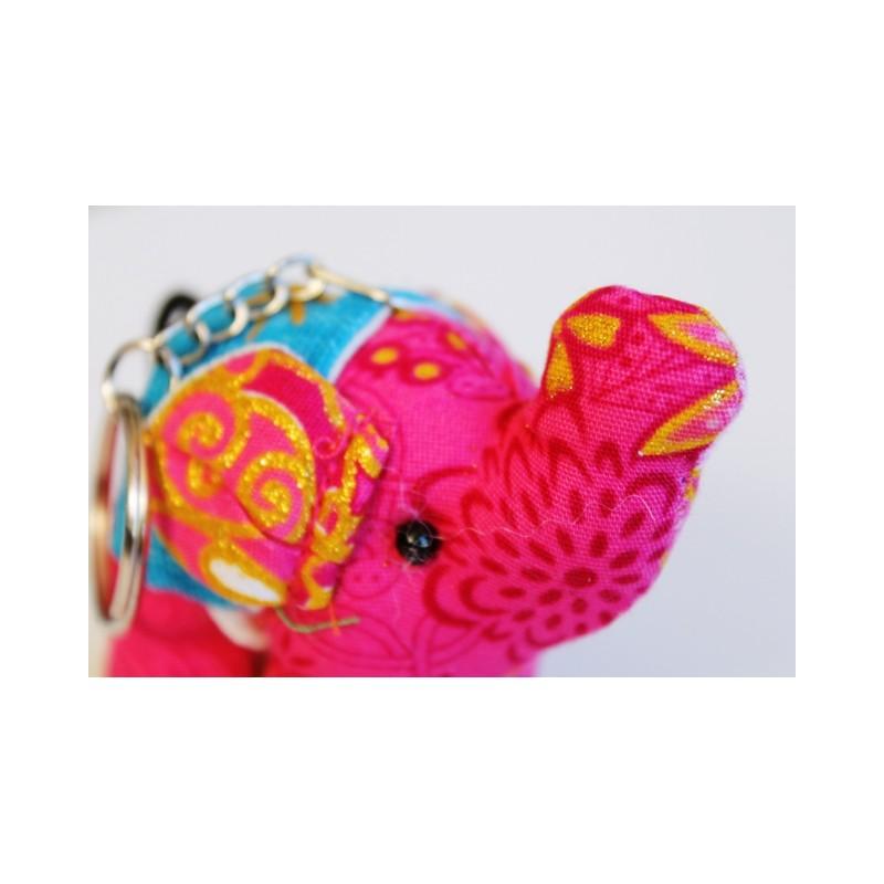 Schlüsselanhänger / Anhänger Stoffelefant Pink