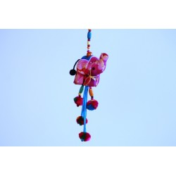Hängedeko 3x Elefant Holzperlen 105 cm - Blau, Rosa, Braun
