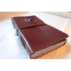 2. Wahl: Notizbuch / Tagebuch mit Echtledereinband und Stein 23
