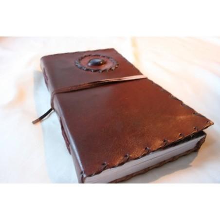 2. Wahl: Tagebuch mit Ledereinband und Stein 23x17 cm - LEDER-N015DD