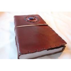 2. Wahl: Tagebuch mit Ledereinband und Stein 23x17 cm - LEDER-N015EE
