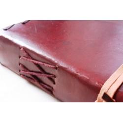 2. Wahl: Notizbuch mit Echtledereinband und Stein 23x13 cm - LEDER-N015-E