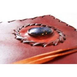 2. Wahl: Notizbuch mit Echtledereinband und Stein 23x13 cm - LEDER-N015-F