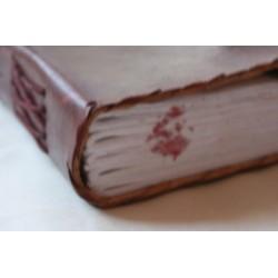 2. Wahl: Tagebuch mit Ledereinband und Stein 23x17 cm - LEDER-N015FF