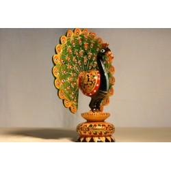 Pfau bemalt aus Holz - Glückssymbol
