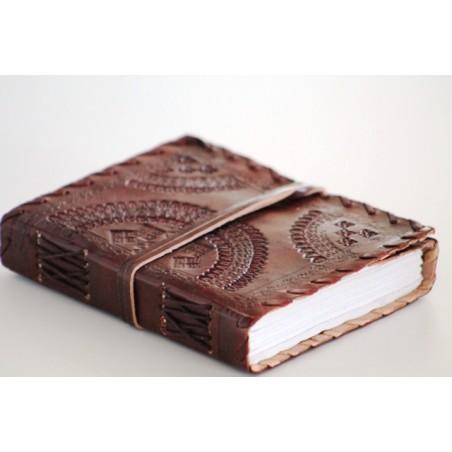 Notizbuch  Leder mit Lederbandverzierung 12x15 cm