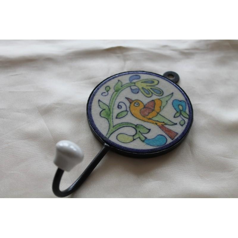 2. Wahl: Wandhaken RUND mit handbemalter Kachel