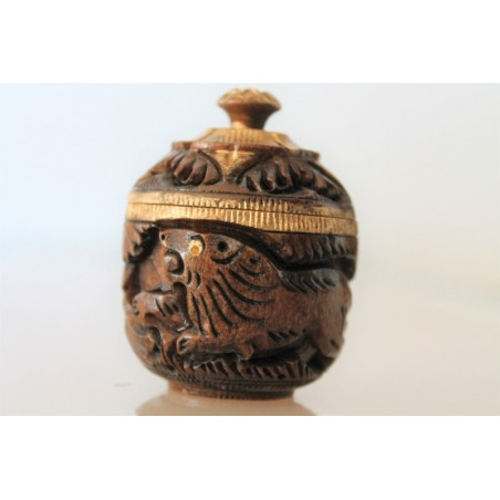 Holzdose Löwe geschnitzt - 4,5 cm (KLEIN)
