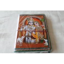 Typisches indisches Notizbuch mit Gottheit Krishna und Radha (mittel) - NOTIZ-OM051