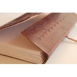 Leder Tagebuch mit Baummotiv 23x14 cm