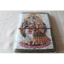 B-Ware: Typisches indisches Notizbuch mit Gottheit Krishna und Radha (mittel) - NOTIZ-OM059