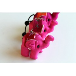 Schlüsselanhänger / Anhänger Stoffelefant Dunkelrosa
